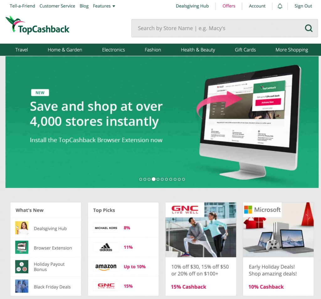 Topcashback-shopping-portal