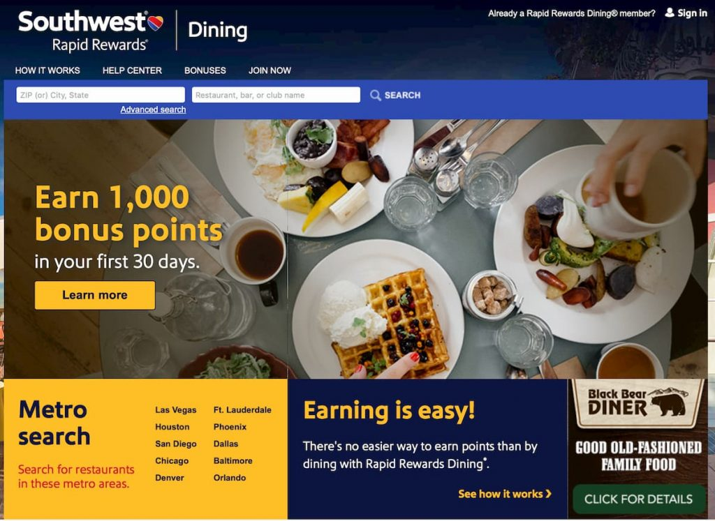 southwest airlines dining