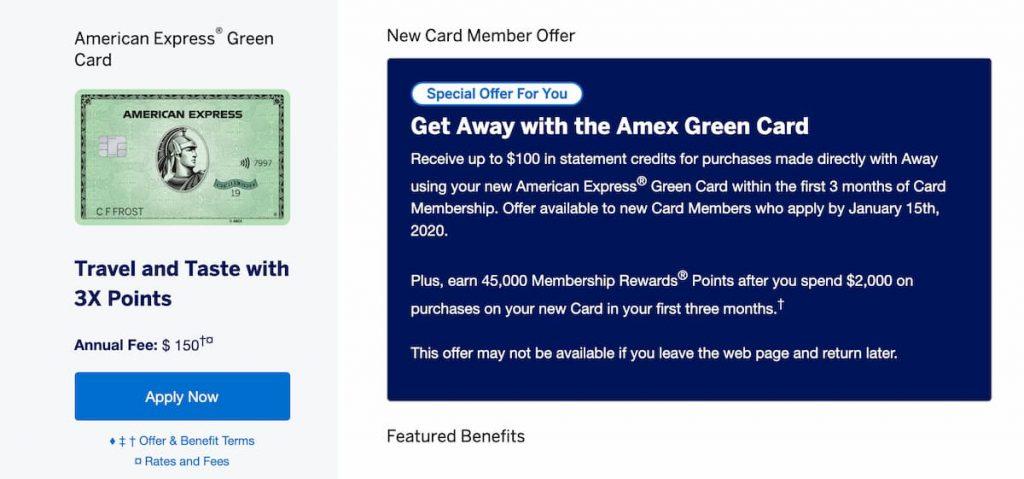 American Express Green Card Welcome Bonus