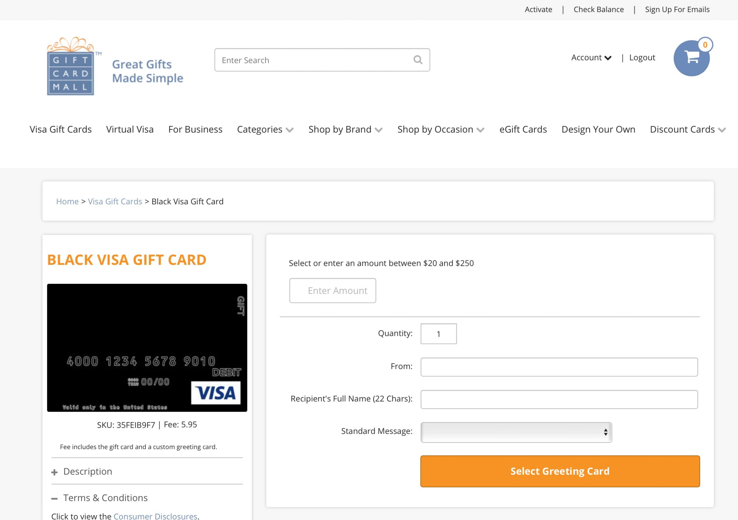 Giftcardmall no longer offering $500 Visa Gift Cards?